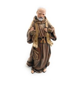 "Avalon Gallery 4"" Saint Pio Statue Resin Figurine with Prayer Gift Box"
