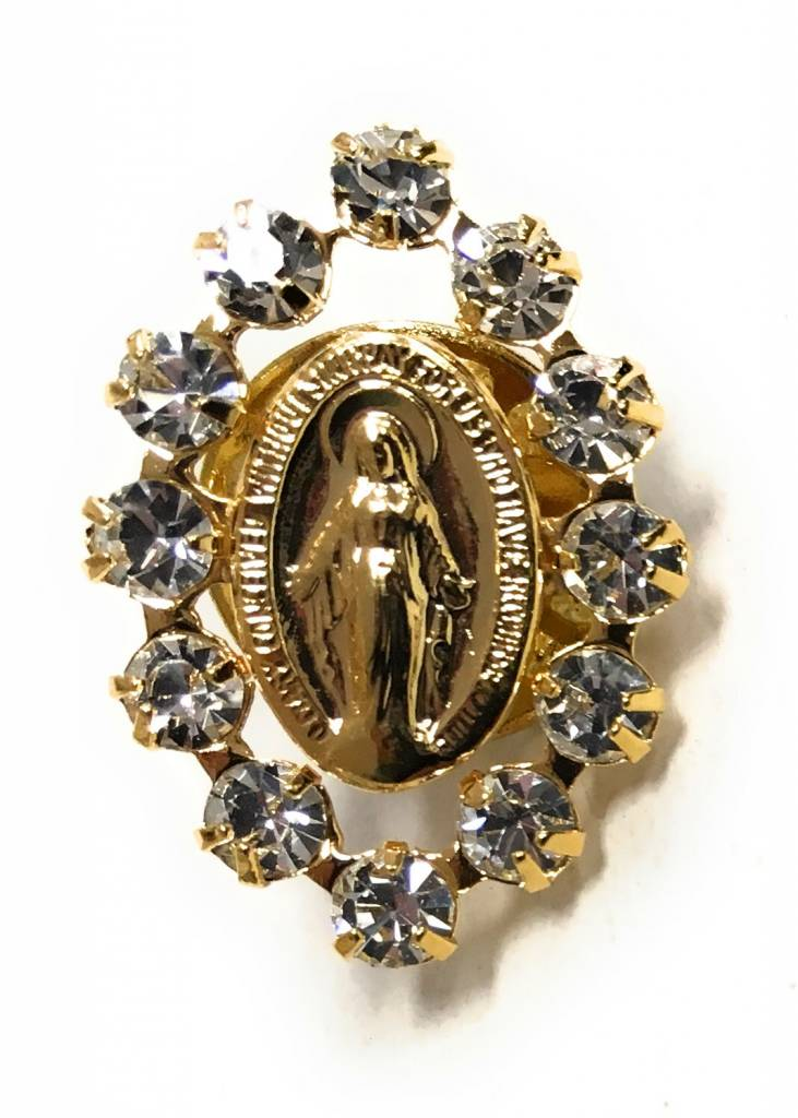 Wallace Brothers Manufacturing Miraculous Medal Lapel Pin with Austrian Crystal