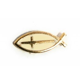 Wallace Brothers Manufacturing Cross in Fish Lapel Pin