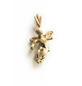 "Wallace Brothers Manufacturing 14kt Gold Angel Charm .74"" Pendant"