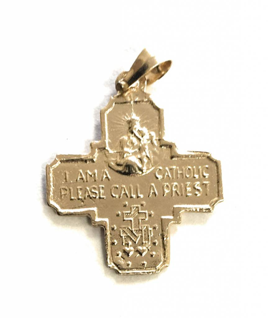 Wallace Brothers Manufacturing 14Kt Yellow Gold Double Sided Four Way Medal Religious Pendant
