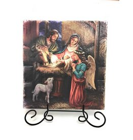 """Sacred Traditions 8"""" Away in a Manger Tile Plaque"""