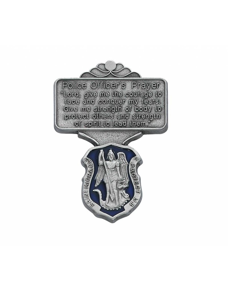 McVan Police Officer Blue Enamel Prayer Visor Clip