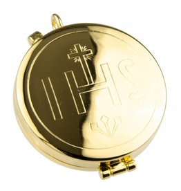 "WJ Hirten Gold ""IHS"" Deep Pyx (Holds 21 Hosts)"