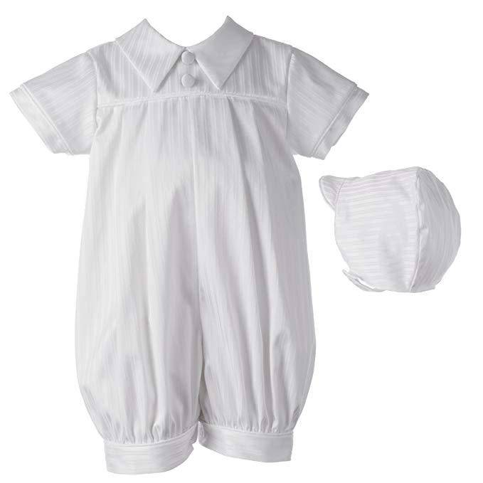 Lauren Madison Satin Striped Pleated Romper with Class Pointed Collar Boy's Baptism Clothing Set [1450]