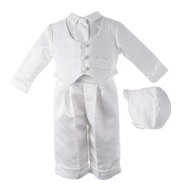 Lauren Madison Short Romper with Cross Boy's Baptism Clothing Set [1512]