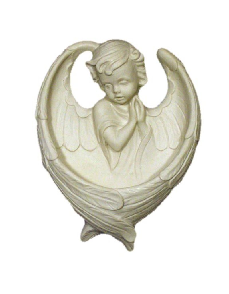 "Goldscheider of Vienna 6.5"" Resin Praying Angel Holy Water Font (White)"