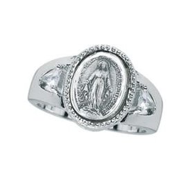 HMH Religious Sterling Silver Miraculous Medal Ring Size 6
