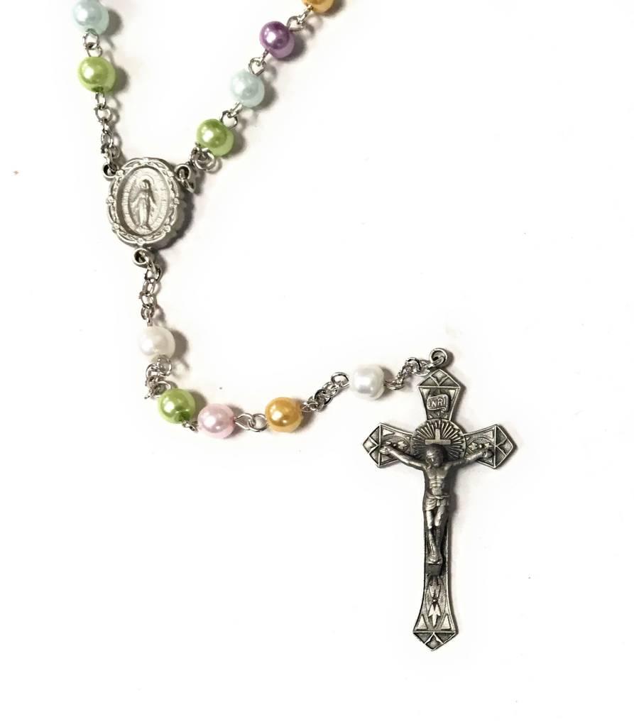HMH Religious Multi Color Faux Pearl Rosary Zoom Multi Color Faux Pearl Bead Pearl Rosary