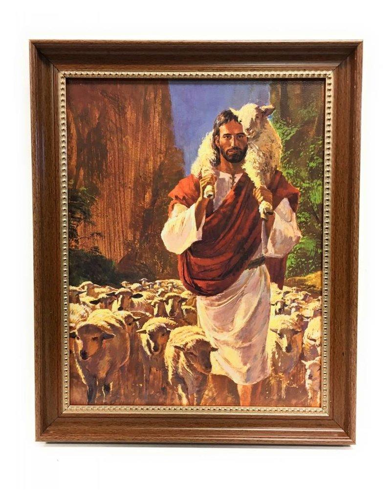 """WJ Hirten 11"""" x 14"""" Hook The Good Shepherd in Walnut Frame"""