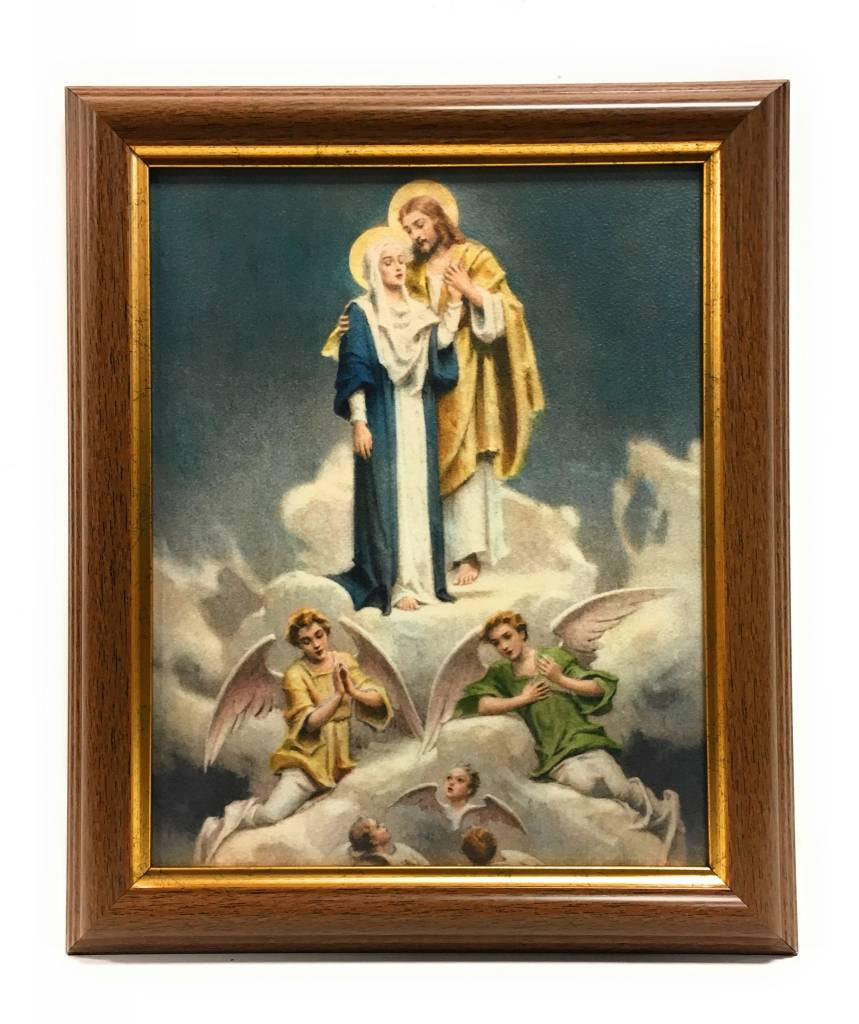 "WJ Hirten 8"" x 10"" Chambers Jesus with Mary in Walnut Frame"
