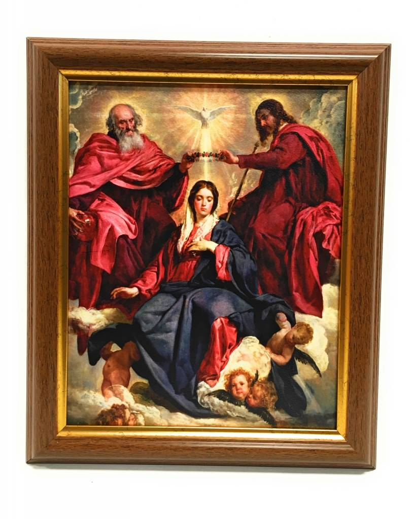 """WJ Hirten 8"""" x 10"""" The Crowning of Mary with Walnut Frame"""