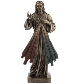 "Goldscheider of Vienna 8"" Divine Mercy Bronzed Resin Lightly Hand-Painted Statue by Veronese"