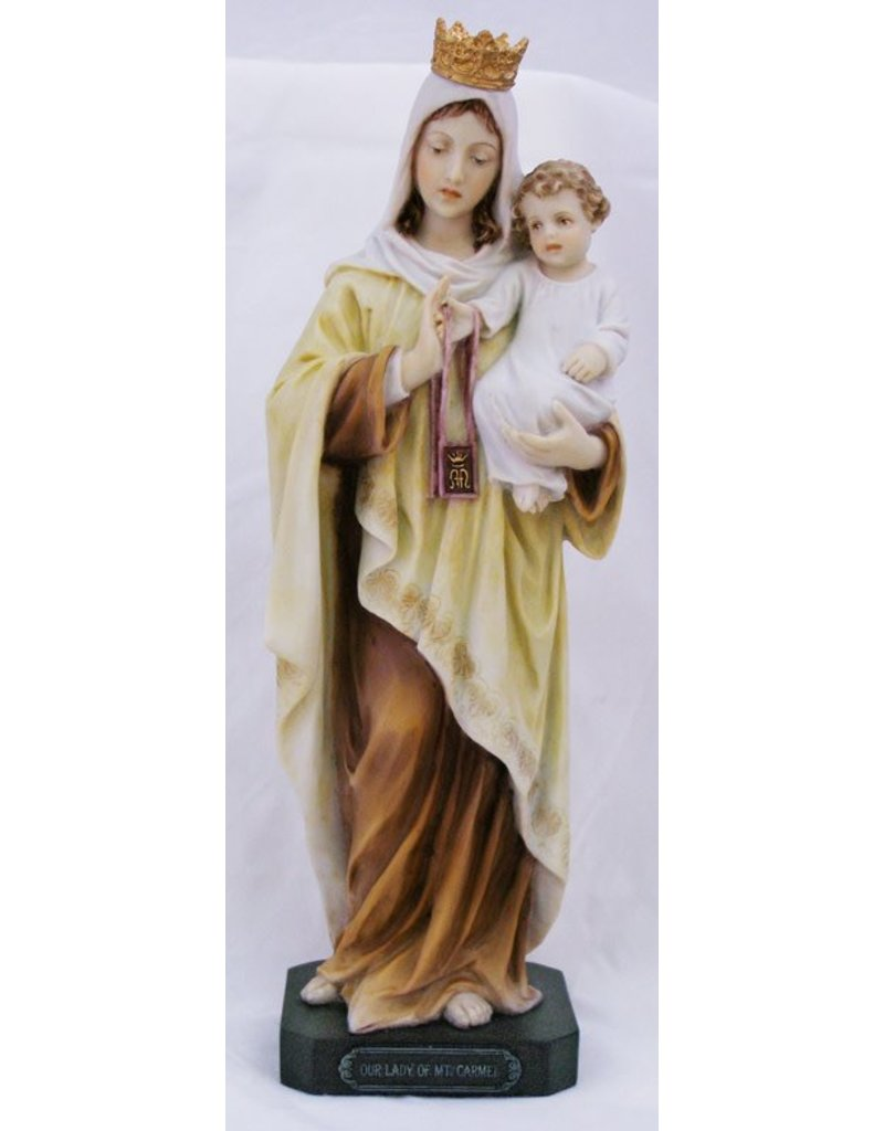 """Goldscheider of Vienna 10"""" Hand Painted Our Lady of Mount Carmel Statue"""