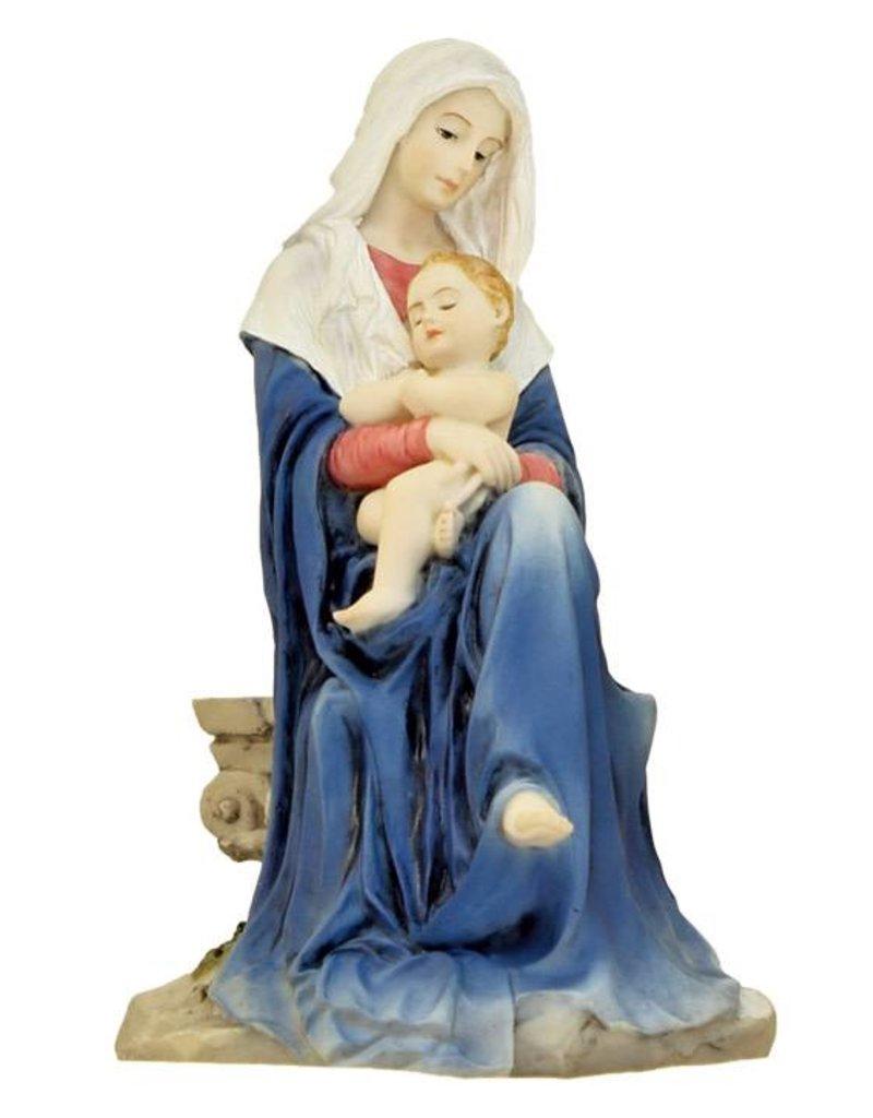 """Goldscheider of Vienna 6"""" Hand Painted Madonna and Child Statue"""