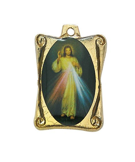 """McVan 1"""" Divine Mercy Medal on 30"""" Gold Plated Chain"""