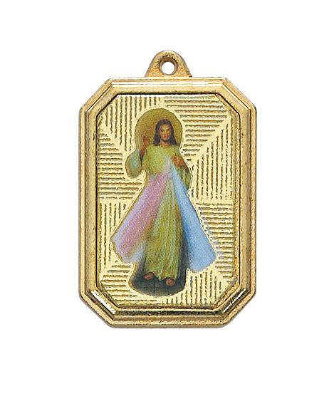 """McVan 1"""" Divine Mercy Medal on 18"""" Gold Plated Chain"""