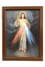 "WJ Hirten 26"" x 19"" Divine Mercy with Walnut Finish Frame and Golden Accents"