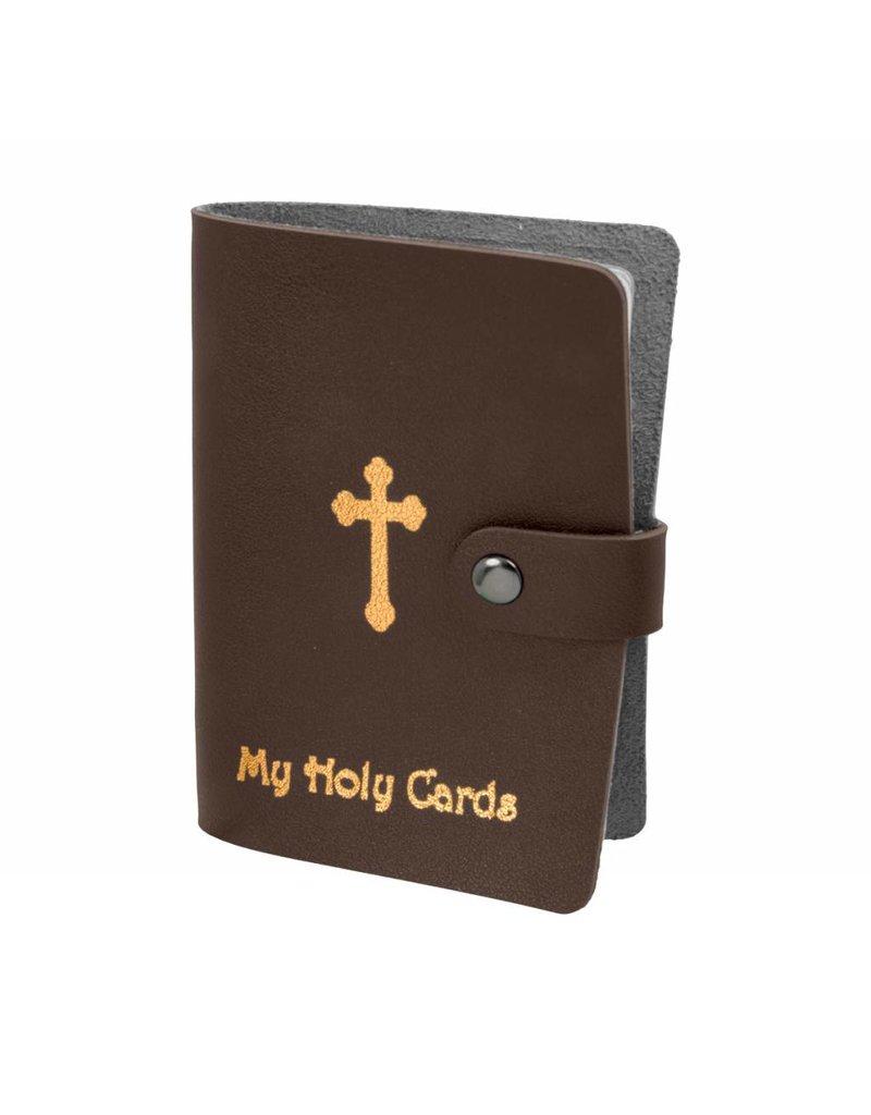 WJ Hirten My Holy Cards Brown Gold Stamped Leatherette Prayer Card Holder
