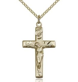 "Bliss Manufacturing 1-1/8"" Gold Filled Crucifix Pendant with 18"" Stainless Gold Lite Curb Chain"