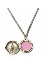 "HMH Religious Miraculous Medal Locket Sterling Silver Pendant With 24"" Chain Necklace"