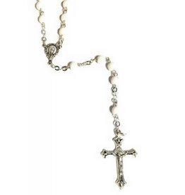 Elite Fashion Accessories Corp 6mm White Glass Bead Rosary