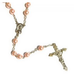 Elite Fashion Accessories Corp 8mm Pink Glass Pearl Bead Rosary