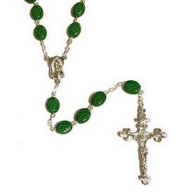 Elite Fashion Accessories Corp Green Irish Clover Glass Bead Rosary