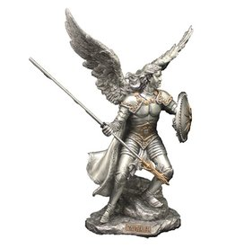 "Goldscheider of Vienna 9"" Archangel Raphael Statue, Pewter Style with Gold Trim"