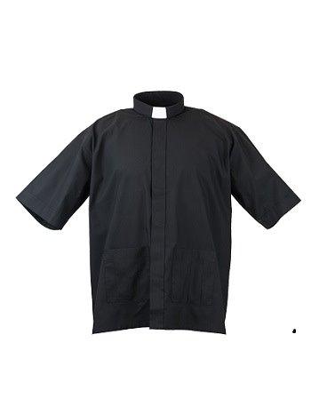 MDS Panama Black Cottonrich Short Sleeve Tab Clergy Shirt