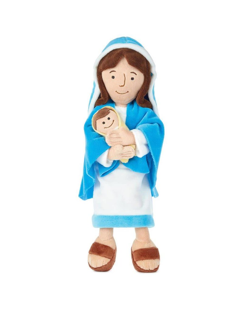 "Hallmark 12.75"" Mother Mary Holding Baby Jesus Plush Doll"