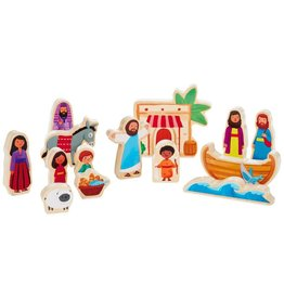 Hallmark Jesus and Friends Wood Play Set, 14 pieces