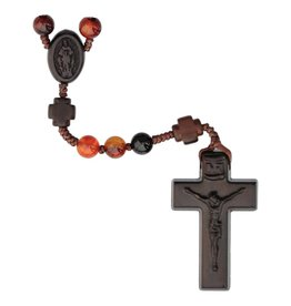 Sine Cera Rosary Five Decade Agate/Jujube Wood 6mm