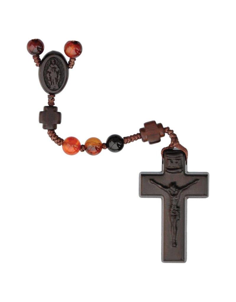 Sine Cera Rosary Five Decade Agate/Jujube Wood 6mm