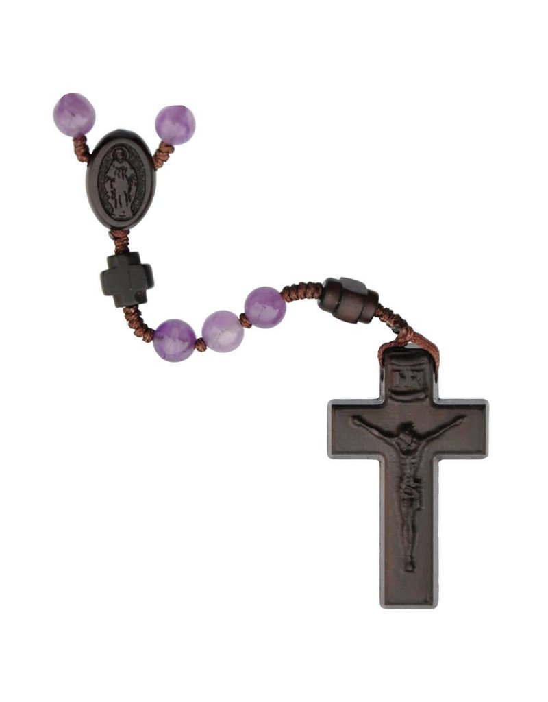 Sine Cera Rosary Five Decade Amethyst/Jujube Wood 6mm
