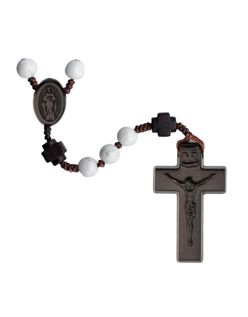 Sine Cera Rosary Five Decade Howlite/Jujube Wood 6mm