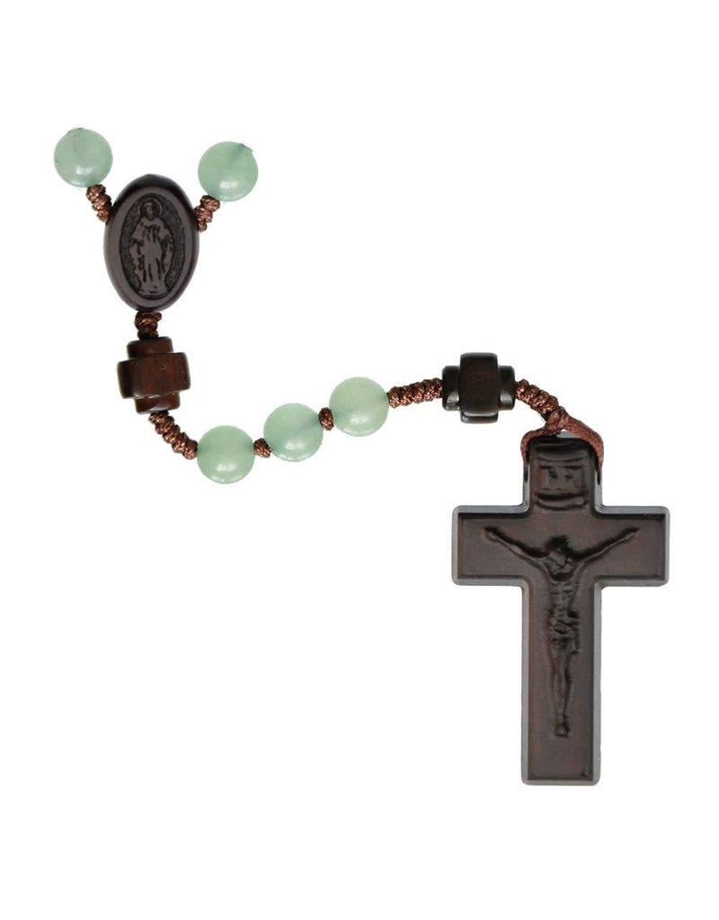 Sine Cera Rosary Five Decade Green Jade/Jujube Wood 6mm