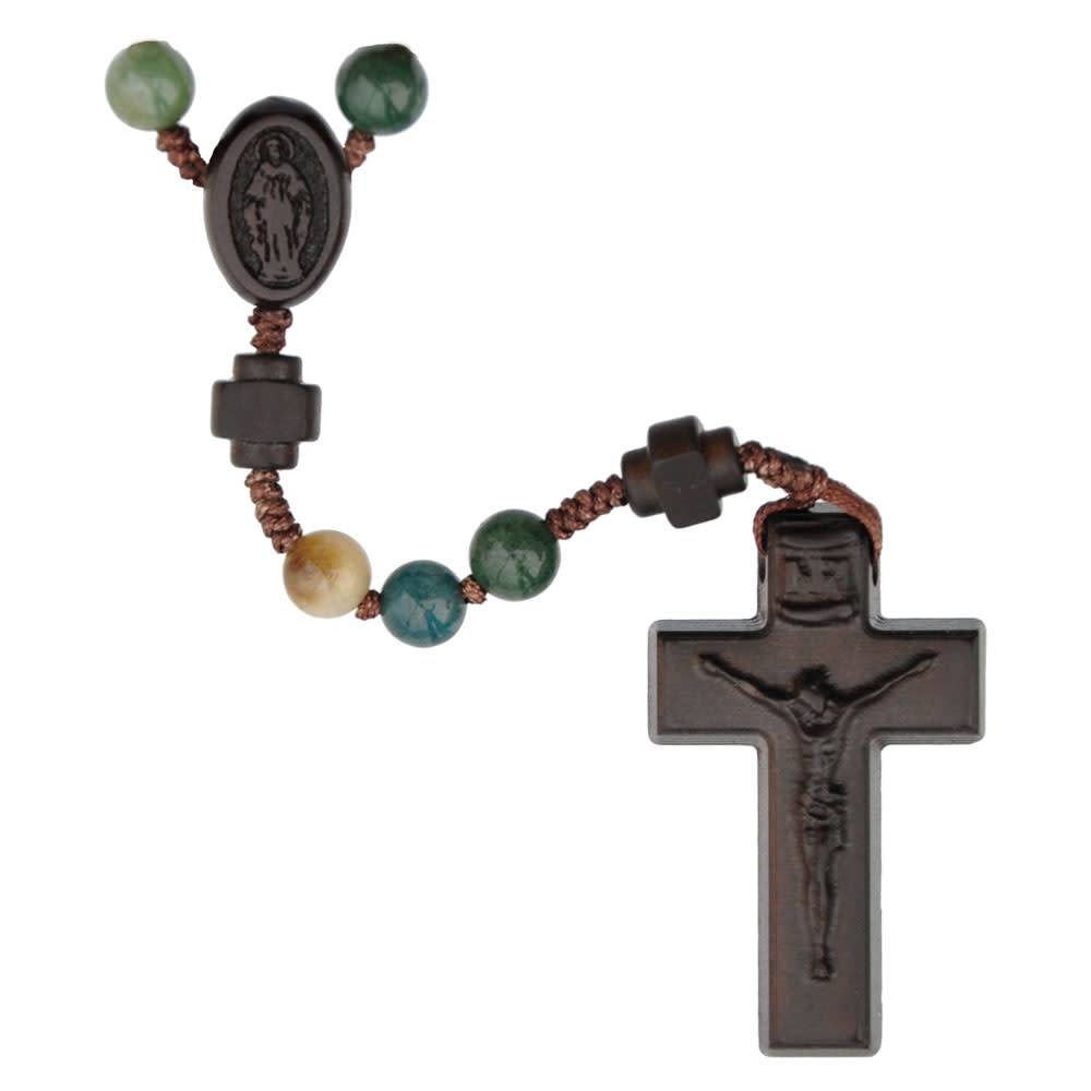 Sine Cera Rosary Five Decade Multicolor Onyx/Jujube Wood 6mm