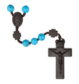 Sine Cera Rosary Five Decade Turquoise/Jujube Wood 8mm