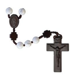 Sine Cera Rosary Five Decade Howlite/Jujube Wood 8mm