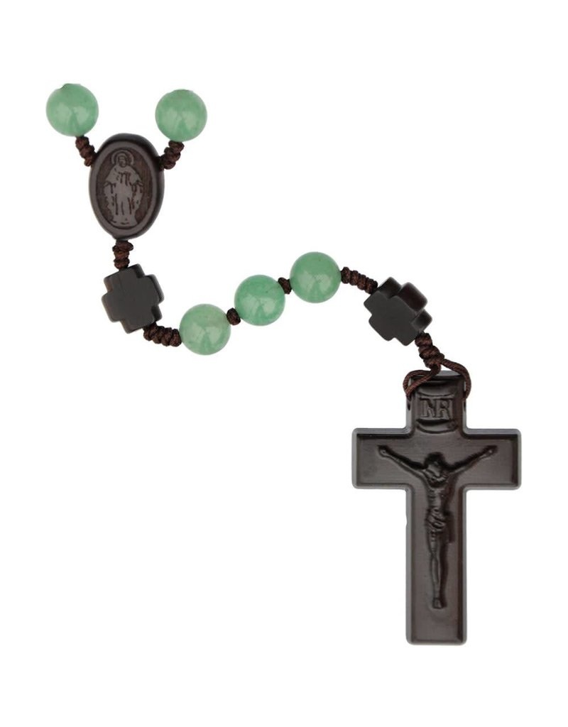 Sine Cera Rosary Five Decade Green Jade/Jujube Wood 8mm