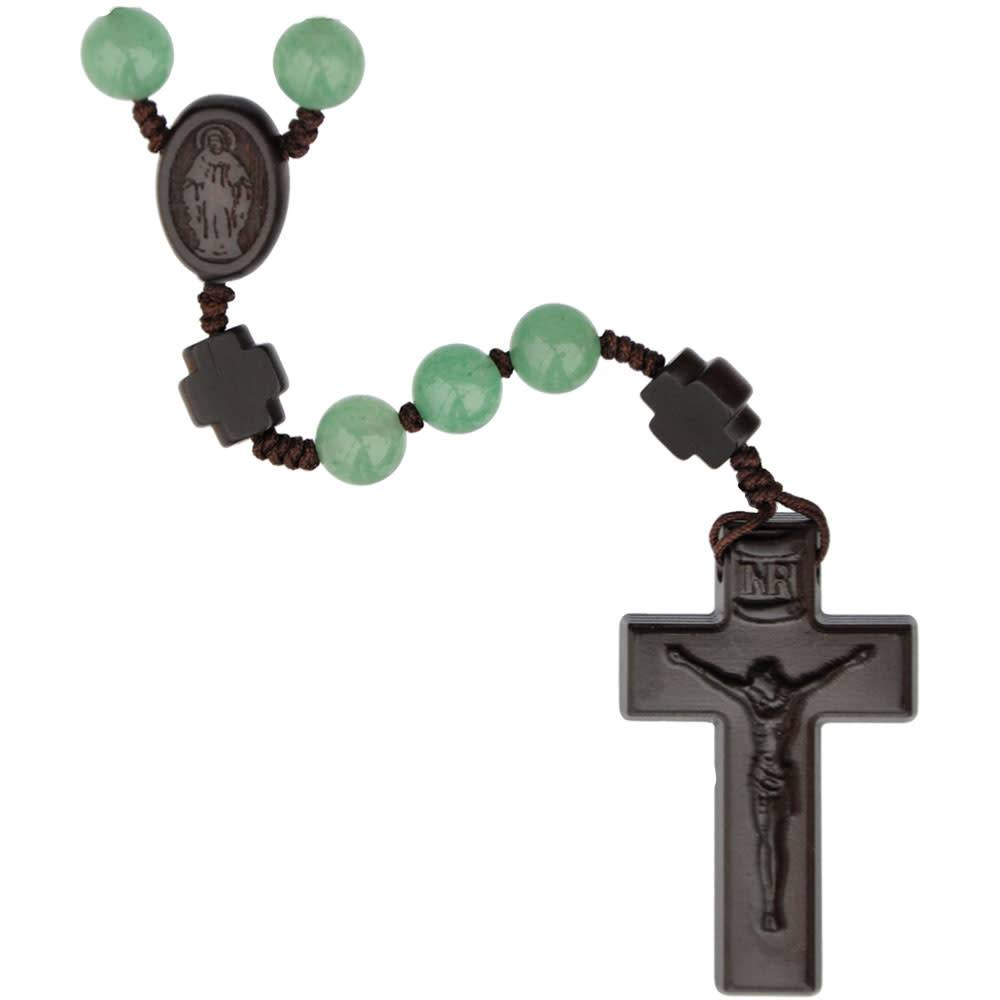 Sine Cera Rosary Five Decade Green Jade/Jujube Wood 8mm