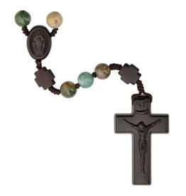 Sine Cera Rosary Five Decade Multicolor Onyx/Jujube Wood 8mm
