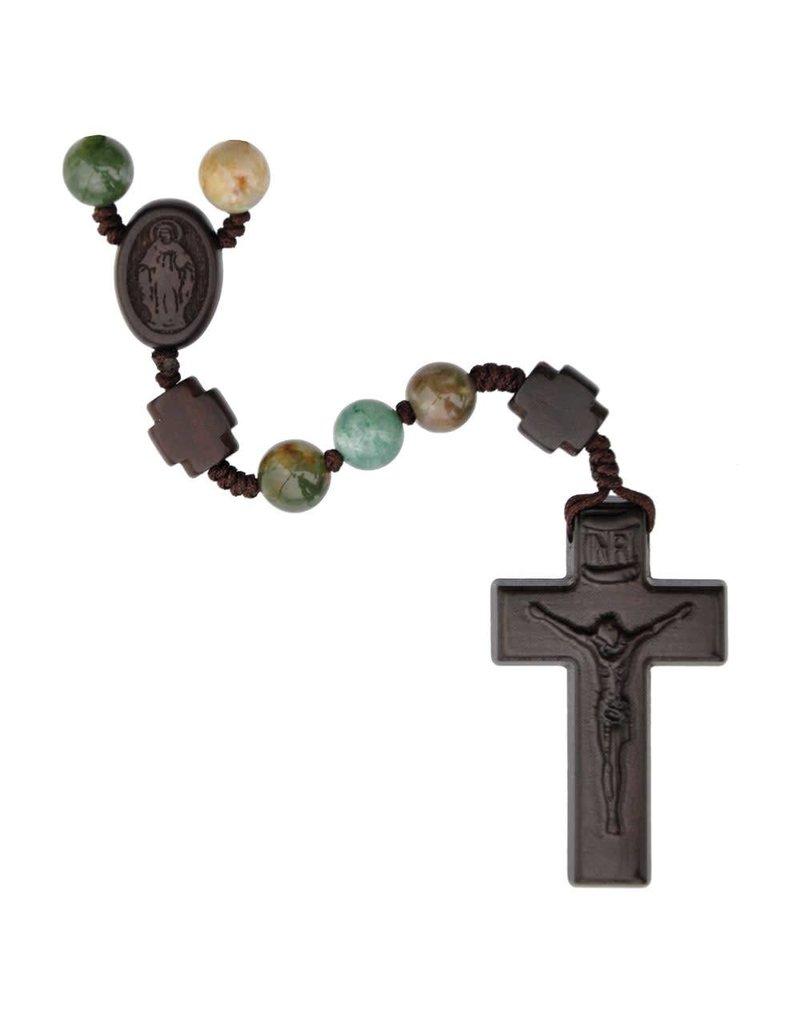 Sine Cera Rosary Five Decade Multicolor Onyx/Jujube Wood 8mm