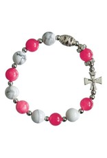 Sine Cera Gemstone Pink/White Rosary Bracelet (10mm)