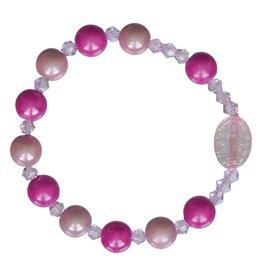 Sine Cera Rosary Bracelet Children's Rainbow Pink 8mm
