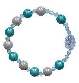 Sine Cera Rosary Bracelet Children's Rainbow Blue 8mm