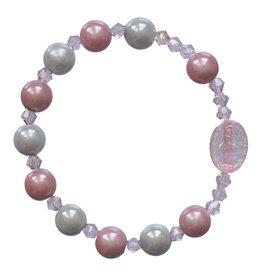 Sine Cera Rosary Bracelet Children's Rainbow Pink/Blue 8mm