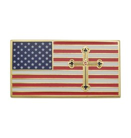 Roman Catholic Gear Make America Holy Again American Flag Pin