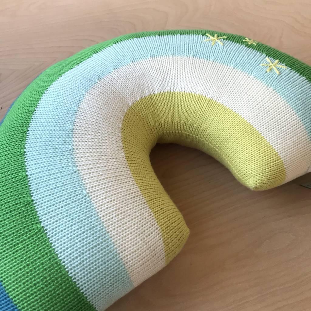 Blabla Kids Stuffed Creature- Rainbow Pillow, Blue